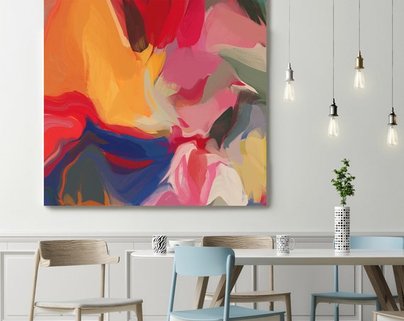 """Large Colorful Abstract, Environmental Vibrations  27-17-1, Blue Yellow Red Painting, Abstract Art Canvas Print, Contemporary Art up to 50"""""""