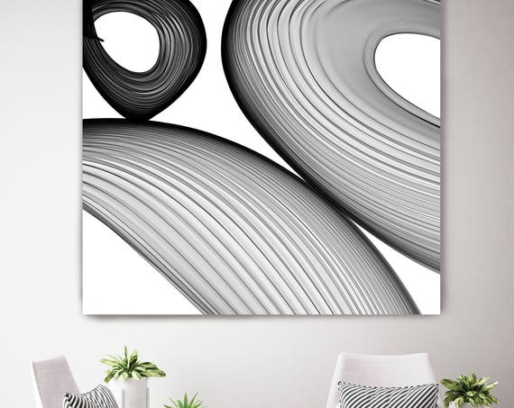 "ORL-6034 Abstract Black and White 21-38-14. New Media Abstract Black and White Canvas Art Print, Canvas Art Print up to 50"" by Irena Orlov"
