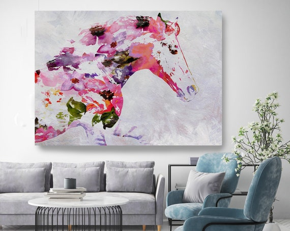Abstract Pink Horse BOHO Mixed Media Horse Painting Canvas Print BOHO Floral Horse Art Large Canvas, Painted Horse Boho Wall Art