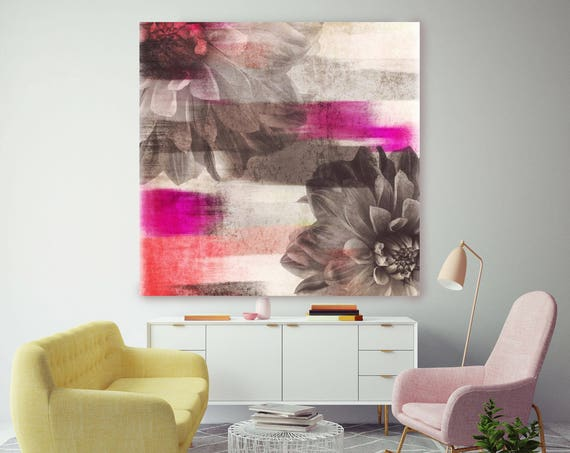 "5365-1 Mirage I. Floral Painting, Brown Pink Midcentury Floral Canvas Art Print, Abstract Floral Canvas Art Print up to 48"" by Irena Orlov"