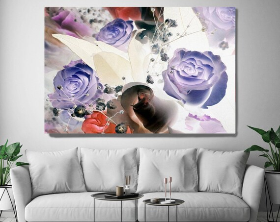 "The eternal seductiveness. Floral Painting, Purple Abstract Art, Abstract Colorful Contemporary Canvas Art Print up to 72"" by Irena Orlov"