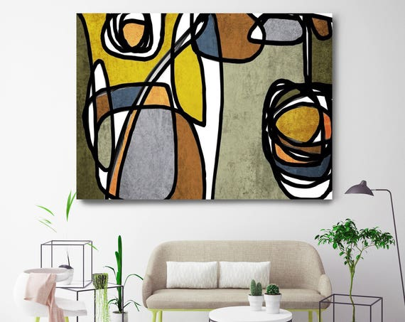 "Vibrant Colorful Abstract-60. Mid-Century Modern Green Brown Canvas Art Print, Mid Century Modern Canvas Art Print up to 72"" by Irena Orlov"