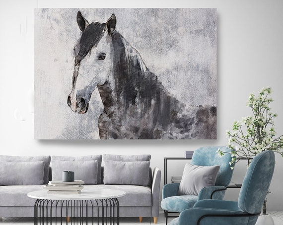 Gorgeous Dark Horse, Horse Painting Gray Horse Art, Horse Decor Painting,Horse Wall Art,Animal Art, Large Canvas Print Horse Art