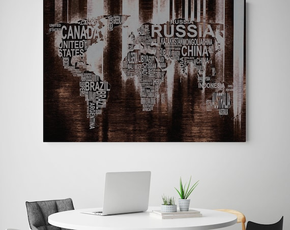 Modern World Text Map VII. Large Brown Grey Canvas Art. Large Wall Art for Home. Home Decor. Abstract Map. Wall Decor by Irena Orlov.