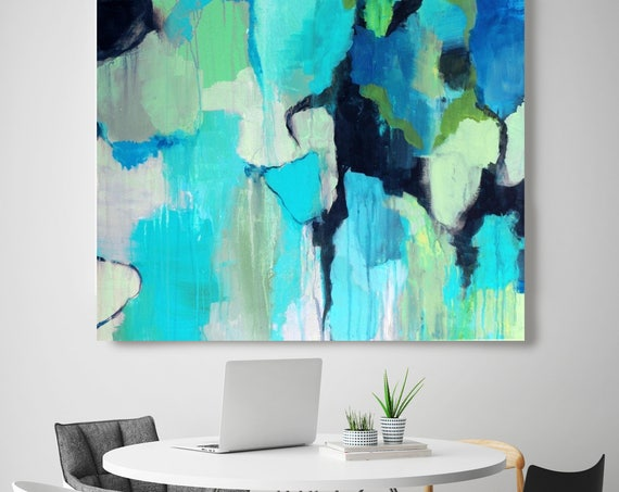 """Reaching Deeper. Blue Abstract Art, Wall Decor, Large Abstract Colorful Contemporary Canvas Art Print up to 48"""" by Irena Orlov"""