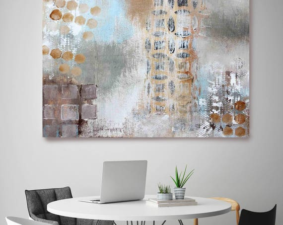 "Geometric Abstraction CD1. Brown Gray Abstract Art, Extra Large Abstract Colorful Contemporary Canvas Art Print up to 72"" by Irena Orlov"