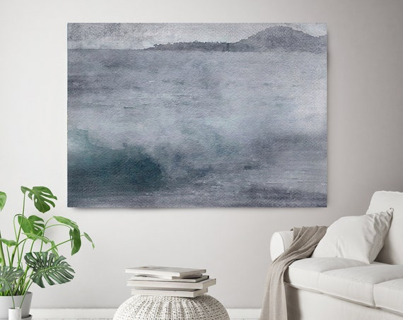 "On a misty spring Morning, Beach Decor, Coastal Wall Canvas Art, Blue Gray Seascape, Sea Canvas Print 80"" by Irena Orlov"