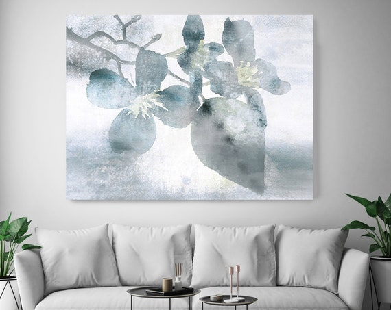 IN love with spring. Floral Painting, blossom canvas art print, blossoming painting, blue floral painting, blossoming tree canvas print