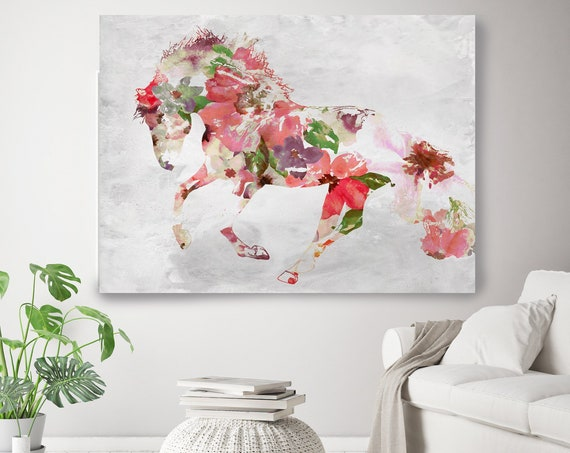 Beautiful Floral Horse 4 BOHO Mixed Media Horse Painting Canvas Print BOHO Pink Floral Horse Art Large Canvas, Painted Horse Boho Wall Art