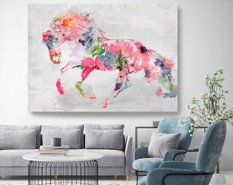Beautiful Floral Coral Horse Mixed Media Horse Painting Canvas Print BOHO Floral Horse Art Large Canvas, Painted Horse Boho Wall Art Trend