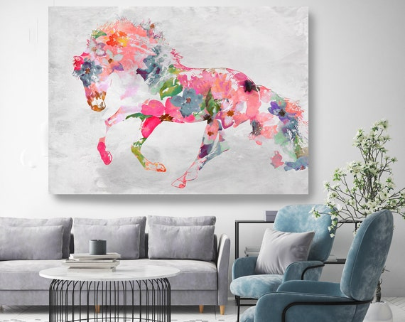 Beautiful Floral Horse BOHO Mixed Media Horse Painting Canvas Print BOHO Floral Horse Art Large Canvas, Painted Horse Boho Wall Art
