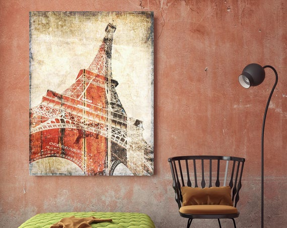 "Eiffel tower Paris France. Red Rustic Eiffel Tower Canvas Art Print, Red Beige Vintage Paris extra Large Canvas Print up to 72"" by Orlov"