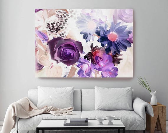 """Harmoniously Tinted. Floral Painting Print, Purple Blue Floral Art, Abstract Colorful Contemporary Canvas Art Print up to 72"""" by Irena Orlov"""