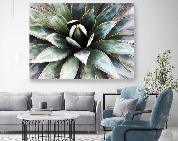 Agave Heart 2-1. SUCCULENT Wall Art, Pale Green CANVAS Prints, Succulent Print, Plant Print, Succulent Art Print, Botanical Print