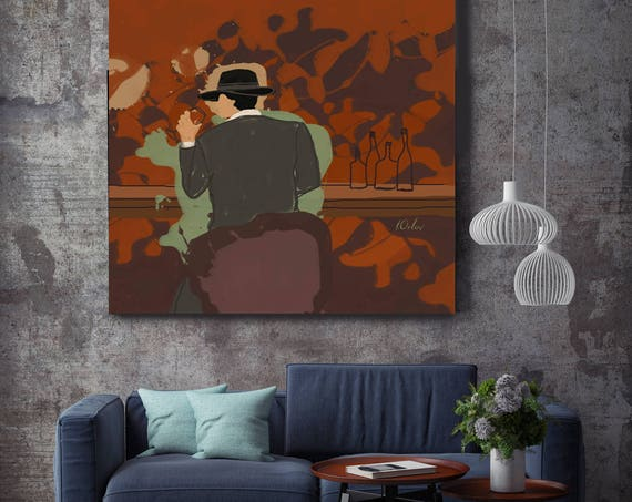 "Right Here Waiting For You. Figurative Canvas Art Print, Man in the Bar Green Brown  Modern Canvas Wall Art Print up to 48"" by Irena Orlov"