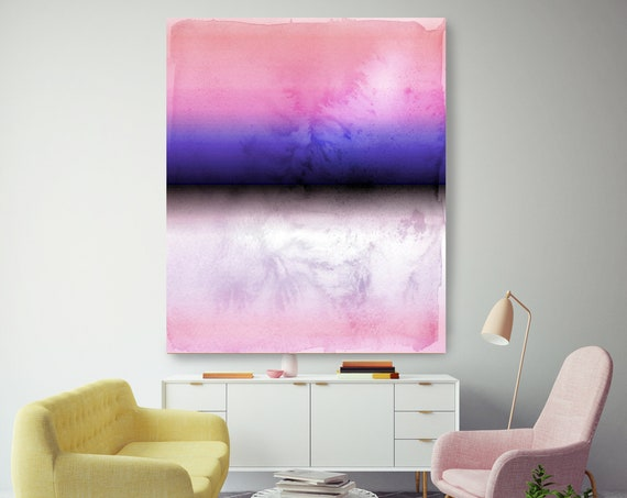 Abstract Minimalist Rothko Inspired 1-37. Abstract Painting Giclee of Original Wall Art, Purple Pink Black Large Canvas Art Print up to 72""