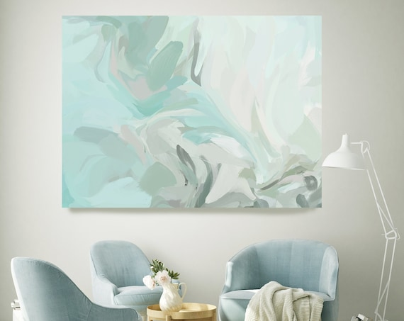 Teal Modern Abstract Flow Painting, Green Abstract Art, Large Wall Art Teal Abstract Canvas Print, Sailing in the light 3 Wall Art for Home