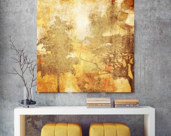 Autumn Mist. Huge Rustic Landscape Painting Canvas Art Print, Extra Large Yellow Orange Brown Canvas Art Print Autumn Landscape Art
