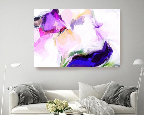 Purple Magic Abstract Painting, Purple Vibrant Abstract Painting, Contemporary Art, Purple Teal, Hand Painted extra large canvas print