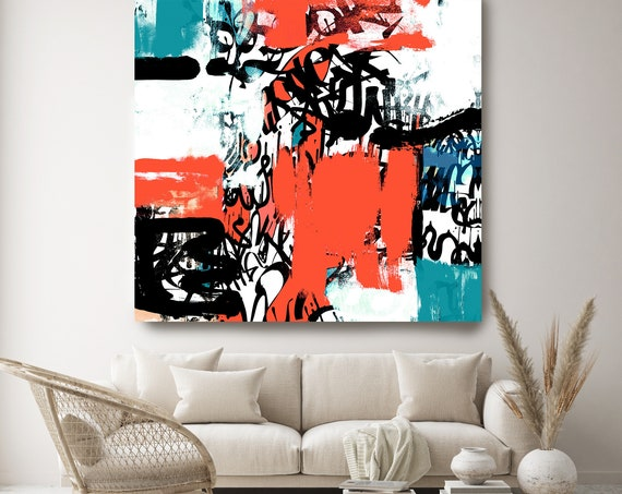 Substantial Research, Red Blue Abstract Painting, Graffiti Art, Modern Wall Decor, Large Canvas Art Print