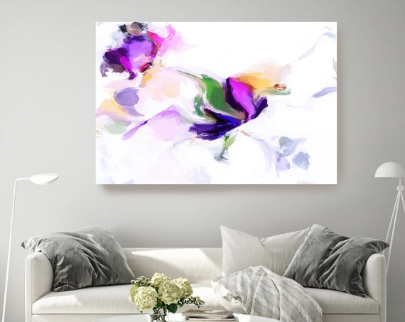 Purple Yellow Magic Abstract Painting, Purple Vibrant Abstract Painting, Contemporary Art Purple Teal, Hand Painted extra large canvas print