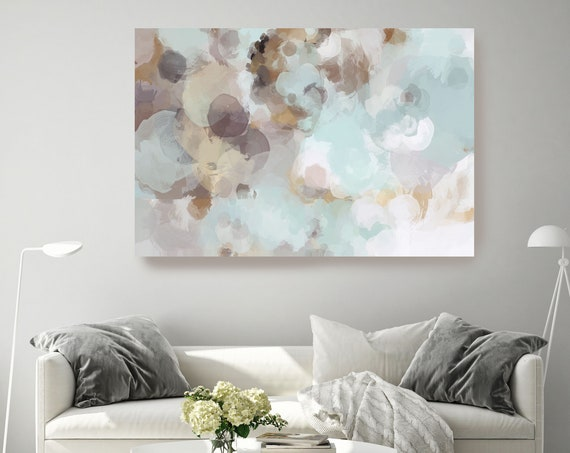 Blue Brown Abstract Modern Abstract Wall Art Decor, Green Abstract Art, Large Wall Art Teal Abstract Canvas Print, Cloud Wall Art for Home
