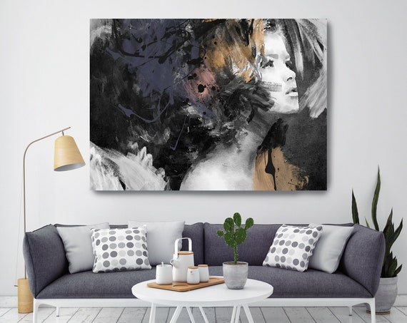 Phenomenal Woman, Figurative painting, Woman watercolor painting print Woman Portrait Painting FIGURATIVE Yellow Black Woman Canvas Print