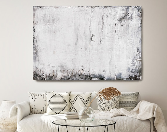 Snow White 3, White Abstract Painting Modern Art Abstract Painting Extra Large Painting Extra Large Abstract Canvas Art Print Minimalist