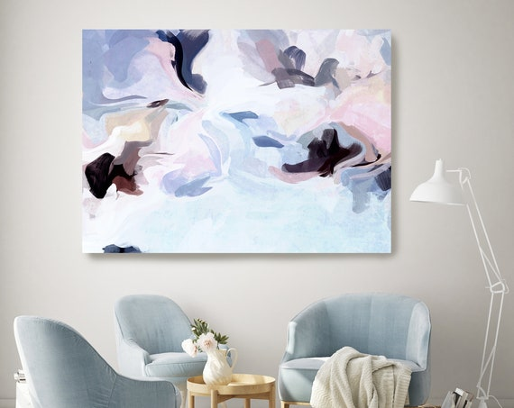 Art Abstract Painting, Blue Pink Abstract Painting, Contemporary Art, Hand Painted, Extra Large Canvas Print, Art Abstract That Moment