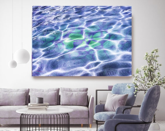 Dream Purple Water Abstract Water Waves, Reflected Water, Canvas Art Print. Purple Water Art