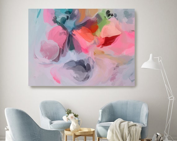 Art Abstract Painting, Gray Pink Gray Abstract Painting, Contemporary Art, Hand Painted, Extra Large Canvas Print, Abstract Colorful Flows