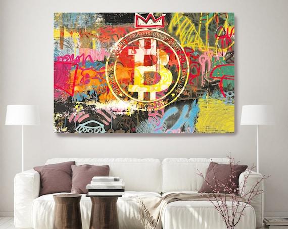 Bitcoin Crypto Art Graffiti Abstract Canvas, Cryptocurrency Bitcoin Graffiti, Art Painting Print on Canvas, Bitcoin Artwork Canvas Print
