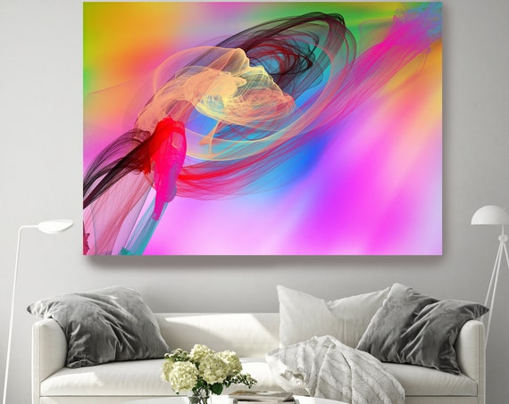 Contemporary Wall Art, Office Decoration, Vibrant Wall Art, Electric Canvas Print, Bright Abstract, New Media, Color in the Lines 2021-04-29
