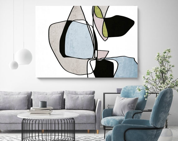 Abstract Line Art 14. Line Art Modern Blue Canvas Art Print Scandinavian print Minimalist abstract Wall decor Blue Black Minimalist Art