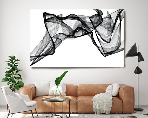 I've got the Spirit 44H x 72W inch, Innovative ORIGINAL New Media Abstract Black And White Painting on Canvas IMinimalist Art