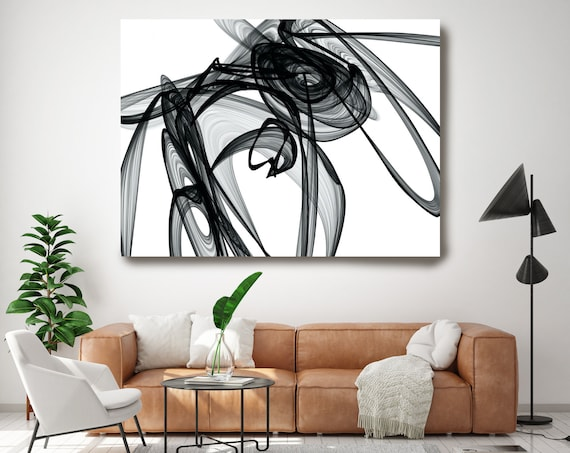 Out of Itself 45H x 60W inch, Innovative ORIGINAL New Media Abstract Black And White Painting on Canvas Minimalist Art