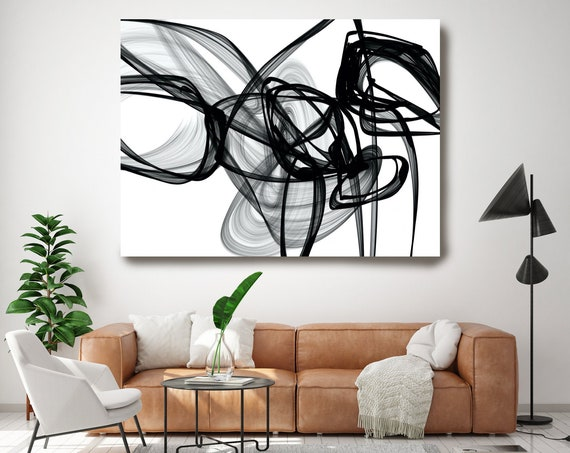 Knowledge 45H x 60W inch, Innovative ORIGINAL New Media Abstract Black And White Painting on Canvas Minimalist Art