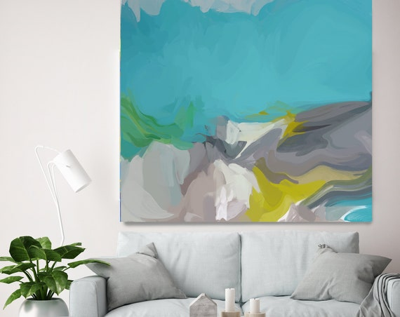 In waves, Acrylic Modern Art, Abstract Painting Teal Turquoise Painting on Canvas, Extra Large Wall Art, Contemporary Home Decor Irena Orlov