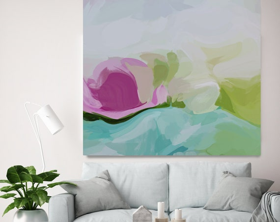 Mint Pink Blur Abstract, Acrylic Modern Art, Abstract Painting on Canvas, Extra Large Wall Art, Contemporary Home Decor Irena Orlov
