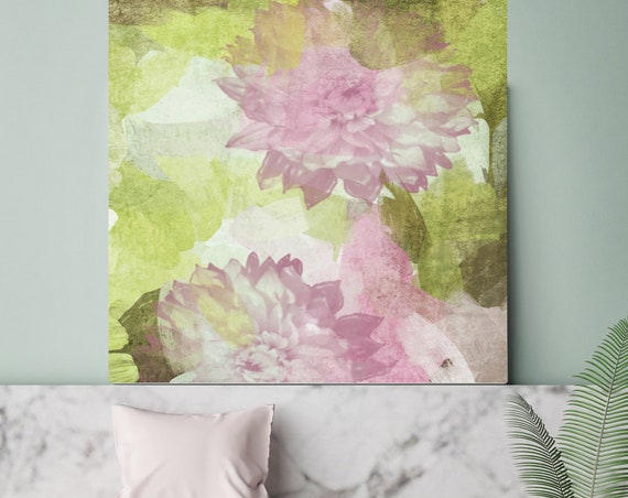 "A feeling of motion. Rustic Blur Floral Painting, Green Pink Lavender Rustic Large Floral Canvas Art Print up to 48"" by Irena Orlov"