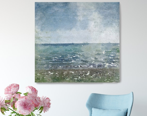 "Early Evening. Lake Art, Seascape, Beach Rustic Canvas Art Print, Blue Water  Extra Large up to 48"" Canvas Art Print by Irena Orlov"