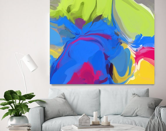 Electric Collection 4 Neon Colors Blue Green Abstract Painting, Original Painting Wall Decor, Large Abstract Canvas Art Print Irena Orlov