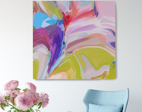 Desert Mirage 15. Pink Green Abstract Art, Canvas Art Print of Abstract Paintings, Minimalist Art, Modern Abstract Wall Art