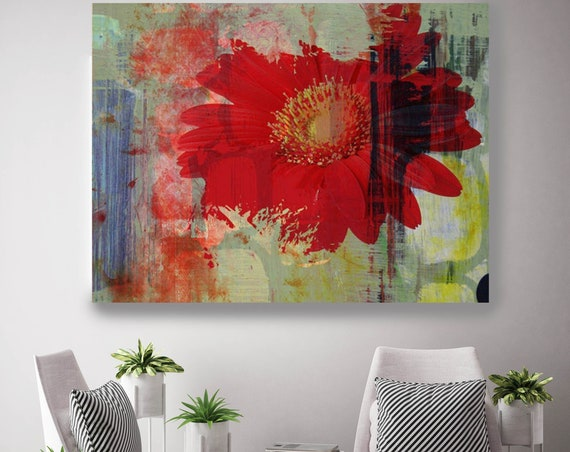 "Exposure. Floral Painting, Red Green Abstract Art, Wall Decor Large Abstract Colorful Contemporary Canvas Art Print up to 72"" by Irena Orlov"