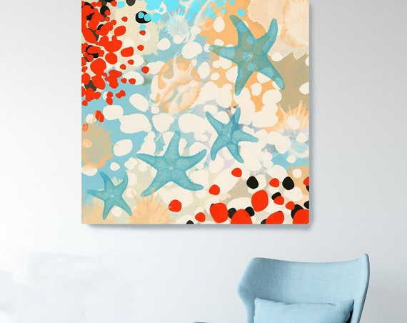 Coastal Canvas Print, Beach House Art, Starfish Decor, Coastal Decor, Coastal Wall Art, Beach House Art,Starfish Art, Nautical Wall Decor