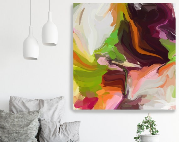 A magical effect 2, Abstract Green Brown Original Painting, Contemporary art, Abstract Painting Print Canvas Print Fluid Painting Fluid Art