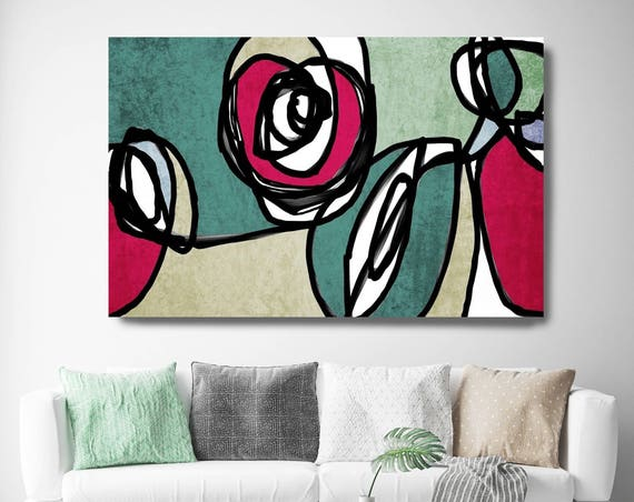 "Vibrant Colorful Abstract-0-49. Mid-Century Modern Green Red Canvas Art Print, Mid Century Modern Canvas Art Print up to 72"" by Irena Orlov"