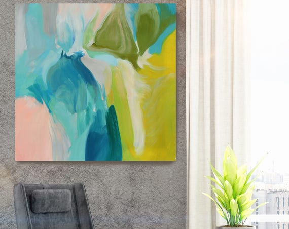 "Calm Spring Colors. Original Contemporary Large Blue, Green Abstract Oil Painting on Canvas 36 X 36"" Stretched"