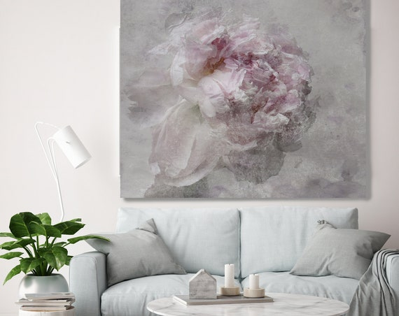 Nostalgic Peony Painting on Canvas, Peony Painting, Pink Gray Floral Art, Rustic Peony, Boho Wall Art, Shabby Floral Canvas Art Print