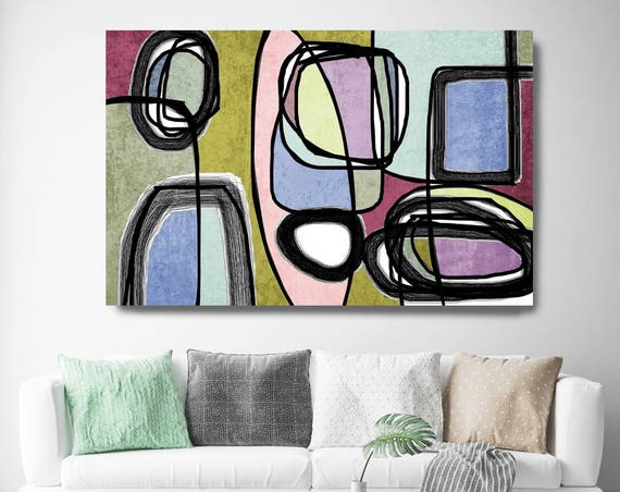 "Vibrant Colorful Abstract-55. Mid-Century Modern Green Pink Canvas Art Print, Mid Century Modern Canvas Art Print up to 72"" by Irena Orlov"